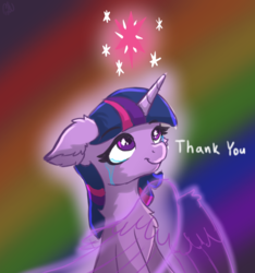 Size: 1537x1639 | Tagged: safe, artist:nighty, derpibooru exclusive, twilight sparkle, alicorn, pony, unicorn, artificial wings, augmented, chest fluff, crying, cutie mark, ear fluff, end of ponies, female, fluffy, happy birthday mlp:fim, horn, magic, magic wings, mlp fim's ninth anniversary, rainbow background, smiling, solo, tears of joy, twilight sparkle (alicorn), unicorn twilight, wings