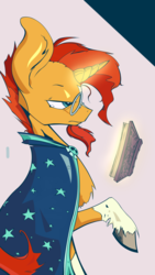 Size: 1800x3200 | Tagged: artist:enzymedevice, book, magic, pony, safe, solo, sunburst