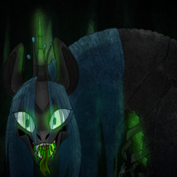 Size: 2048x2048 | Tagged: safe, artist:artfestation, queen chrysalis, changeling, changeling queen, female, solo, tongue out