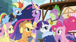 Size: 1280x720 | Tagged: safe, artist:nupiethehero, edit, edited screencap, screencap, applejack, fluttershy, pinkie pie, rainbow dash, rarity, spike, twilight sparkle, alicorn, earth pony, pegasus, pony, unicorn, the last problem, female, gigachad spike, mane seven, mane six, mare, older, older rarity, older spike, twilight sparkle (alicorn)