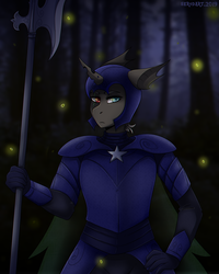 Size: 1600x2000 | Tagged: anthro, armor, artist:serodart, changeling, changeling oc, commission, guard, night, oc, safe, solo, wood