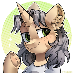 Size: 1000x1000 | Tagged: artist:trickate, bust, female, freckles, frog (hoof), hoofbutt, icon, mare, oc, oc:trickate, pony, ponysona, portrait, safe, smiling, solo, underhoof, unicorn