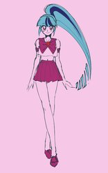 Size: 747x1200 | Tagged: safe, artist:rileyav, sonata dusk, equestria girls, 80s, anime, belly button, clothes, cute, female, looking at you, pink background, sailor moon, sailor scout, sailor uniform, simple background, solo, sonatabetes, uniform
