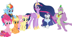 Size: 2690x1387   Tagged: safe, artist:frownfactory, applejack, fluttershy, pinkie pie, rainbow dash, rarity, spike, twilight sparkle, alicorn, dragon, earth pony, pegasus, pony, unicorn, the last problem, .svg available, alternate hairstyle, cloak, clothes, female, gigachad spike, hat, horn, jewelry, male, mare, medal, older, older applejack, older fluttershy, older pinkie pie, older rainbow dash, older rarity, older spike, older twilight sparkle (alicorn), princess twilight 2.0, regalia, simple background, svg, transparent background, twilight sparkle (alicorn), vector, wings