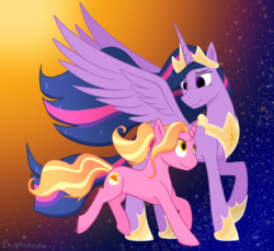 Size: 1200x1100   Tagged: safe, artist:enigmadoodles, luster dawn, twilight sparkle, alicorn, pony, unicorn, the last problem, spoiler:s09e26, duo, female, mare, older, older twilight, princess twilight 2.0, spread wings, teacher and student, twilight sparkle (alicorn), wings