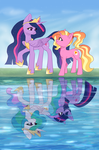 Size: 2900x4400 | Tagged: alicorn, artist:avrameow, comparison, end of ponies, female, looking at each other, luster dawn, mare, older, older twilight, pony, princess celestia, princess twilight 2.0, reflection, safe, spoiler:s09e26, teacher and student, the last problem, twilight sparkle, twilight sparkle (alicorn), unicorn, unicorn twilight, water