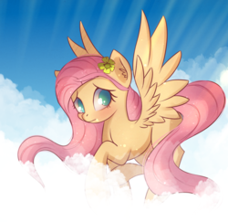 Size: 1805x1753 | Tagged: artist:autumnvoyage, cloud, flower, flower in hair, fluttershy, flying, pegasus, pony, safe, solo