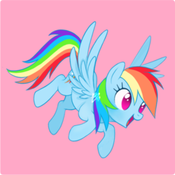 Size: 500x500 | Tagged: artist:mn27, cute, dashabetes, female, mare, no pupils, open mouth, pegasus, pink background, pony, rainbow dash, safe, simple background, solo, spread wings, wings