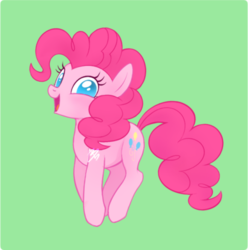 Size: 500x504 | Tagged: artist:mn27, cute, diapinkes, earth pony, female, green background, looking at you, mare, no pupils, open mouth, pinkie pie, pony, safe, simple background, solo