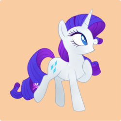 Size: 500x500 | Tagged: artist:mn27, cute, female, mare, no pupils, open mouth, orange background, pony, profile, raribetes, rarity, safe, simple background, solo, unicorn