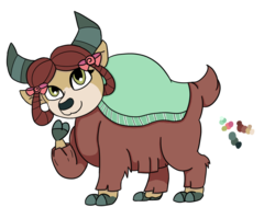 Size: 1000x757 | Tagged: artist:flamirasplitz, bow, cloven hooves, cute, female, hair bow, monkey swings, safe, simple background, solo, transparent background, yak, yona, yonadorable