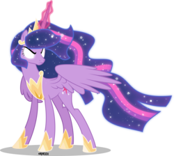 Size: 4000x3576 | Tagged: safe, artist:orin331, twilight sparkle, alicorn, pony, the last problem, spoiler:s09e26, cutie mark, ethereal mane, female, glowing eyes, mare, older, older twilight, princess twilight 2.0, simple background, solo, starry mane, transparent background, twilight sparkle (alicorn), ultimate twilight