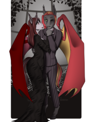 Size: 1369x1870 | Tagged: anthro, anthro oc, artist:blackblood-queen, bat pony, bat pony oc, clothes, commission, costume, couple, digital art, dress, eyeshadow, fake moustache, fangs, female, gomez addams, halloween, halloween costume, husband and wife, lipstick, looking at each other, makeup, male, mare, married couple, morticia addams, nightmare night costume, oc, oc only, oc:savory zest, oc:scarlet quill, oc x oc, one eye closed, safe, scarlory, shipping, signature, slit eyes, stallion, straight, suit, the addams family, unguligrade anthro