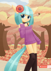 Size: 1000x1403 | Tagged: anthro, artist:howxu, autumn, bottomless, choker, clothes, cocobetes, coco pommel, cute, ear fluff, female, flower, flower in hair, leaves, looking at you, partial nudity, safe, solo, stockings, sweater, thigh highs, tree