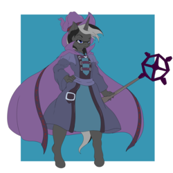 Size: 1920x1920 | Tagged: anthro, artist:suirano, hand on hip, magician outfit, male, oc, oc only, oc:silent dawn, runescape, safe, solo, standing, unguligrade anthro, unicorn