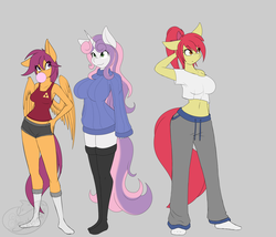 Size: 3500x3000 | Tagged: safe, artist:silverfox057, apple bloom, scootaloo, sweetie belle, anthro, plantigrade anthro, big breasts, booty shorts, breasts, bubblegum, busty apple bloom, busty cmc, busty scootaloo, busty sweetie belle, clothes, cutie mark crusaders, female, food, gum, mare, midriff, older, older apple bloom, older cmc, older scootaloo, older sweetie belle, smiling, sweater puppies