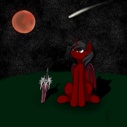 Size: 2000x2000 | Tagged: alicorn, artist needed, bat pony, bat pony alicorn, bat pony oc, blood moon, comet, full moon, looking up, moon, night, oc, pony, red and black oc, safe, solo, soul calibur, soul edge, stargazing, stars