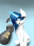 Size: 1536x2048 | Tagged: safe, artist:techwingidustries, oc, oc:brooklynn, pony, unicorn, atomic bomb, cartoon, chest fluff, hammer, magic, nuclear weapon, silly, silly pony, telekinesis, this will end in death, too dumb to live, weapon