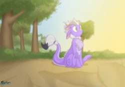 Size: 5000x3500 | Tagged: artist:fluffyxai, brush tail, chest fluff, cute, dragon, dragon hybrid, fluffy, hybrid, longma, oc, oc:kyuu, oc only, safe, smiling
