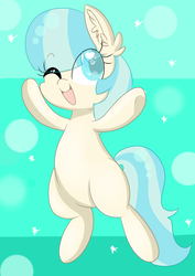 Size: 2893x4092 | Tagged: artist:meowmavi, blank flank, chibi, cocobetes, coco pommel, colored pupils, cute, ear fluff, earth pony, eye clipping through hair, female, filly, heart eyes, high res, mare, one eye closed, open mouth, pony, safe, solo, wingding eyes, wink