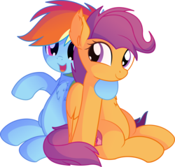 Size: 7385x7059 | Tagged: absurd resolution, artist:cyanlightning, chest fluff, cute, duo, ear fluff, female, folded wings, hug, mare, older, pegasus, pony, rainbow dash, safe, scootaloo, simple background, sisterly love, sitting, .svg available, transparent background, vector, wings