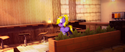 Size: 3440x1440 | Tagged: artist:jerryenderby, cafe, cake, chair, cute, fern, food, minecraft, oc, oc:enderby, oc only, :p, plants, pony, safe, solo, tongue out