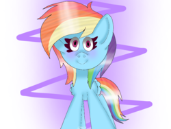 Size: 1024x768 | Tagged: abstract background, artist:badimo, blushing, female, looking at you, mare, pegasus, pony, rainbow dash, safe, signature, smiling, solo, standing, wings