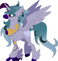 Size: 400x426 | Tagged: safe, artist:t-aroutachiikun, oc, oc:stheno, classical hippogriff, hippogriff, hybrid, feathered fetlocks, female, interspecies offspring, magical lesbian spawn, offspring, parent:princess celestia, parent:queen novo, parents:novolestia, peytral, simple background, solo, transparent background
