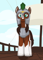 Size: 1920x2688 | Tagged: alternate version, angry, armor, artist:swegmeiser, boat, cloud, earth pony, looking at you, low angle, oc, oc:preciosa, pony, royal guard, safe, solo