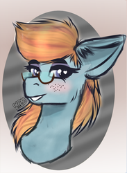 Size: 579x790 | Tagged: artist:almond evergrow, earth pony, female, glasses, headphones, mare, oc, safe, solo, subwave