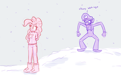 Size: 1280x823   Tagged: safe, artist:heir-of-rick, pinkie pie, equestria girls, clothes, crossover, do not want, snow, uncomfortable, wah, waluigi, winter outfit