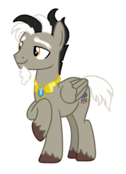 Size: 1050x1454 | Tagged: alternate universe, artist:elementbases, artist:flipwix, base used, discord, element of laughter, jewelry, male, pegasus, ponified, pony, pony discord, role reversal, safe, simple background, smiling, species swap, stallion, transparent background