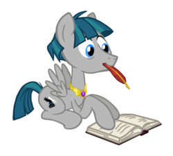 Size: 1282x1157 | Tagged: alternate universe, artist:flipwix, book, element of generosity, jewelry, male, pegasus, pony, quill, race swap, role reversal, safe, simple background, solo, spread wings, stallion, stygian, transparent background, wings