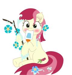 Size: 1913x2000 | Tagged: artist:onil innarin, blushing, cute, cuteluck, earth pony, flower, glue, glue bottle, mouth hold, roseluck, safe, simple background, solo, spoiler:s09e11, stick, student counsel, transparent background, vector