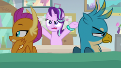 Size: 1280x720 | Tagged: bracelet, couch, gallus, jewelry, safe, screencap, smolder, spoiler:s09e11, starlight glimmer, starlight's office, student counsel