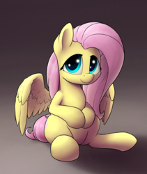Size: 1600x1900 | Tagged: artist:whiskeypanda, cute, derpibooru exclusive, fluttershy, looking at you, pegasus, pony, safe, shyabetes, sitting, solo