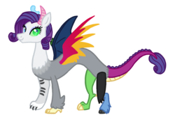 Size: 1280x912 | Tagged: alternate universe, artist:flipwix, draconequified, draconequus, heterochromia, rarity, safe, simple background, smiling, species swap, spread wings, transparent background, wings
