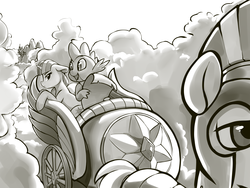 Size: 4000x3000 | Tagged: artist:dimfann, canterlot, chariot, cloud, dragon, female, flying, friendship is magic, grayscale, grumpy, guard, helmet, letter, male, mare, monochrome, pegasus, pony, royal guard, safe, scene interpretation, spike, stallion, talking, twilight sparkle, unicorn, unicorn twilight