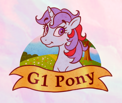 Size: 700x589 | Tagged: artist:littmosa, cute, female, g1, ribbon, safe, smiling, sparkler (g1), sticker, tree, unicorn