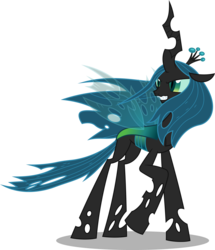 Size: 8608x10000 | Tagged: absurd resolution, artist:chrzanek97, changeling, changeling queen, female, frenemies (episode), queen chrysalis, raised hoof, safe, simple background, solo, spoiler:s09e08, transparent background, vector