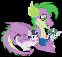 Size: 497x459 | Tagged: safe, artist:superrosey16, spike, oc, oc:emerald, oc:jasper, dracony, dragon, hybrid, pony, interspecies offspring, offspring, older, parent:rarity, parent:spike, parents:sparity, prone, simple background, transparent background, winged spike