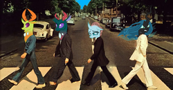 Size: 743x390 | Tagged: abbey road, changedling, changeling, editor:gutovi, king thorax, ocellus, pharynx, prince pharynx, queen chrysalis, safe, the beatles, thorax