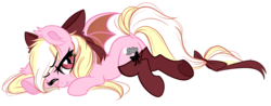 Size: 1570x618 | Tagged: artist:emberslament, artist:lullabyprince, bat ponified, bat pony, blushing, bow, clothes, collaboration, cute, dock, fangs, hair bow, heart eyes, looking at you, looking back, looking back at you, oc, oc:bay breeze, one eye closed, race swap, safe, simple background, socks, tail bow, thigh highs, transparent background, underhoof, wingding eyes, wink