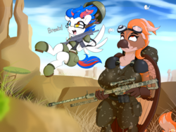 Size: 4800x3613 | Tagged: annoyed, anthro, artist:n0nnny, backpack, beak, bird, clothes, commission, desert, dialogue, galil, glasses, grass, happy, hippogriff, jumping, military, military uniform, oc, oc:beatbreaker, oc only, oc:zeeb, pegasus, pony, safe, sky, spread wings, tongue out, trigger discipline, upset, weapon, wings