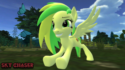 Size: 1920x1080   Tagged: safe, artist:sky chaser, oc, oc:wooden toaster, butterfly, pegasus, pony, 3d, female, solo, source filmmaker
