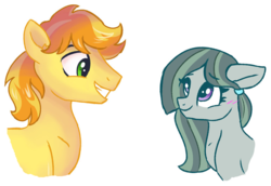 Size: 836x575 | Tagged: artist:dreamscapevalley, blushing, braeble, braeburn, cropped, earth pony, edit, female, looking at each other, male, marble pie, mare, no dialogue, safe, shipping, smiling, stallion, straight
