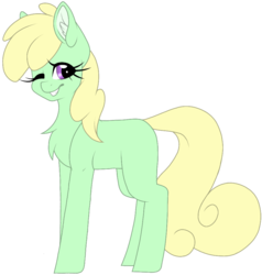 Size: 919x965 | Tagged: artist:melodytheartpony, cute, earth pony, female, mare, oc, one eye closed, pony, safe, solo, wink