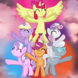 Size: 1155x1165 | Tagged: alicorn, alicornified, alternate universe, apple bloom, artist:melodysweetheart, artist:zikathepony, base used, bloomicorn, cloud, cutie mark crusaders, diamond tiara, dinky hooves, pegasus, pinkie pie, pony, race swap, safe, scootaloo, silver spoon, sky, sweetie belle, unicorn