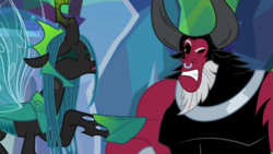 Size: 1280x720 | Tagged: safe, screencap, lord tirek, queen chrysalis, centaur, changeling, changeling queen, the ending of the end, angry, bickering, female, former queen chrysalis, mocking, taunting, ultimate chrysalis, ultimate tirek