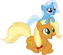Size: 1223x1080 | Tagged: bow, cute, diatrixes, edit, female, filly, filly trixie, hair bow, happy, mare, mother and daughter, pony, pony hat, prone, safe, simple background, smiling, sunflower spectacle, transparent background, trixie, unicorn, vector, young, younger